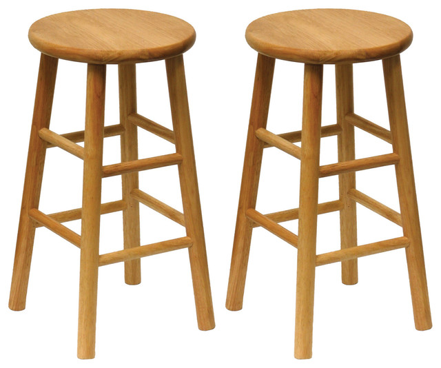 Surprising Winsome Wood Cottage Natural Solid Wood Bar Stools Set Of 2 Pabps2019 Chair Design Images Pabps2019Com