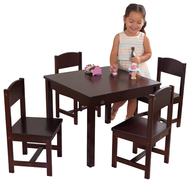 Kids Table And Chairs Set Espresso: KidKraft Farmhouse Table And 4 Chair Set, Espresso