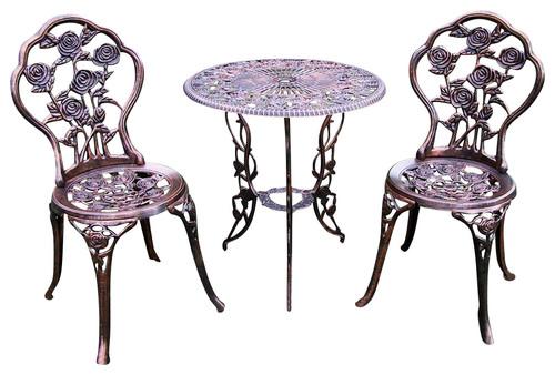3 Pc Bistro Table Set in Antique Bronze, Rose