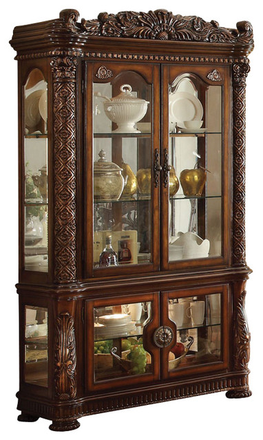 Acme Vendome Curio Cabinet With Mirror Back, Cherry - Traditional ...