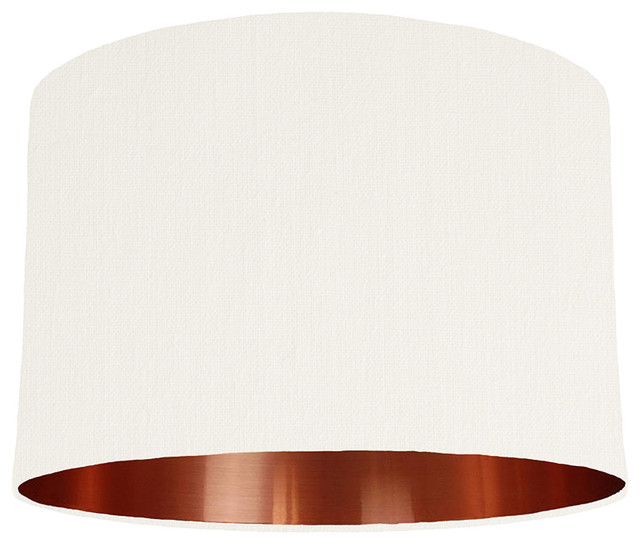 White Lampshade With A Copper Mirrored Lining Contemporary