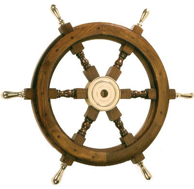 "18"" Wooden Ship Wheel With Brass Handles. -1"