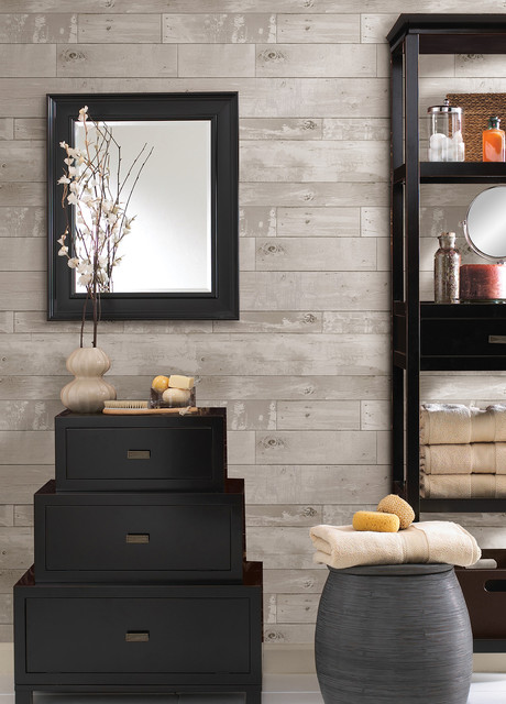 347 20131 Heim Distressed Wood Panel Faux Texture Wallpaper