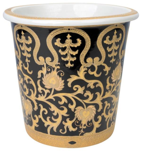 Gold Tapestry Porcelain Planter