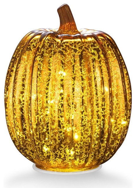 7.7 Battery Operated Led Pumpkin Lights With Timer For Seasonal Decor, Gold.