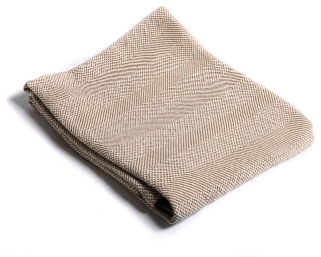 Savannah Cotton Throw, Camden Tan, Double-Needled Hem.