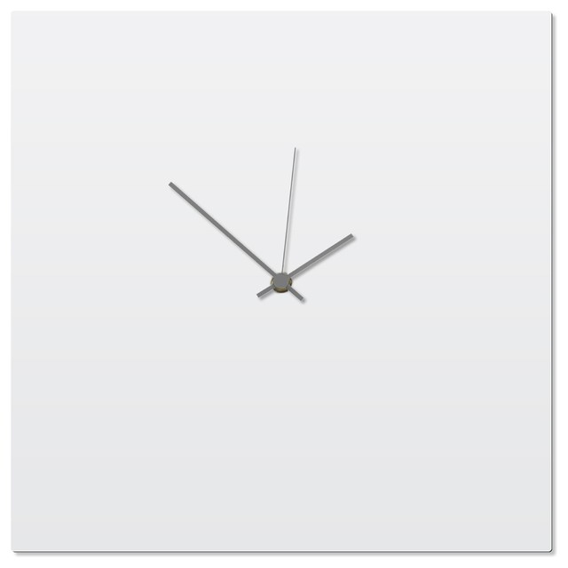 Charmant Contemporary Clock U0027Whiteout Grey Square Clocku0027 Artisan Made White Kitchen  Clock