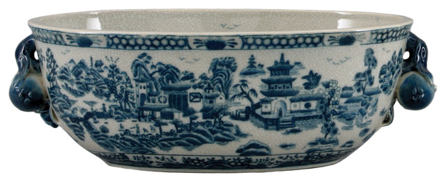 Blue And White Willow Porcelain Planter
