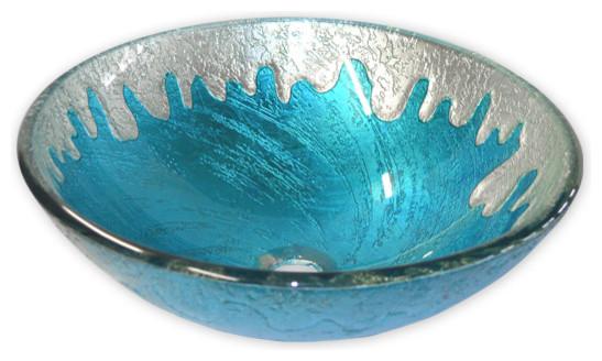 Eden Bath Glass Vessel Sink, Blue Ice.