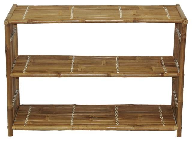 Bamboo Three Shelf Bookcase.
