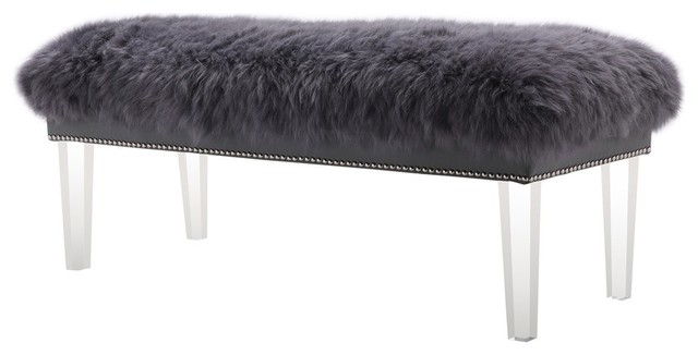 Luxe Gray Sheepskin Lucite Bench.