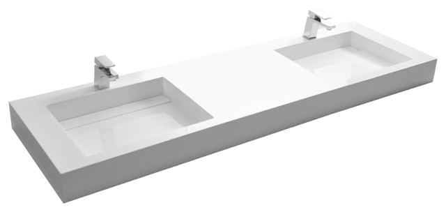 ADM White Solid Surface Stone Resin Wall Hung Sink Modern Bathroom Sinks
