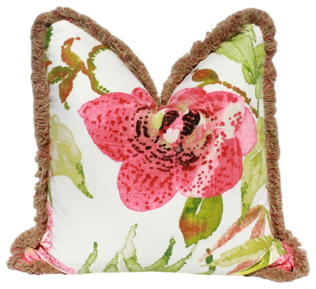 "Tropical Floral Pillow, Pink Green, Brush Fringe, 20""x20""."