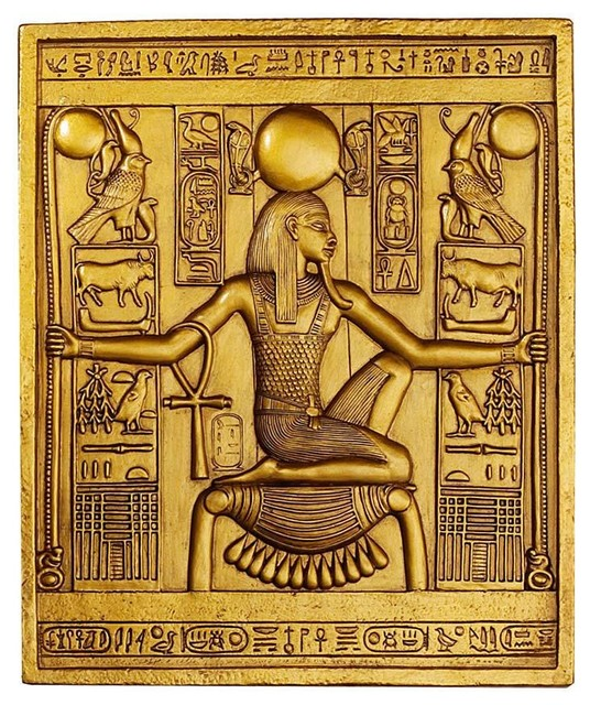 Ancient Egyptian Temple Wall Decor King Tut Sculptural Plaque  Traditional Artwork