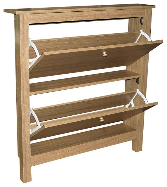 Stowe 8-Pair 2-Drawer Shoe Organiser Cabinet, Oak
