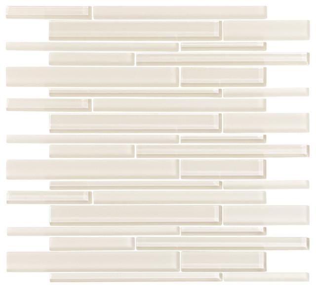 Cream Glass Strip Mosaic Sample Modern Mosaic Tile By Vicci Design