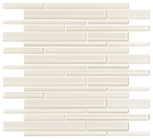 Glass top bathroom sinks - Cream Glass Strip Mosaic Modern Mosaic Tile By Vicci