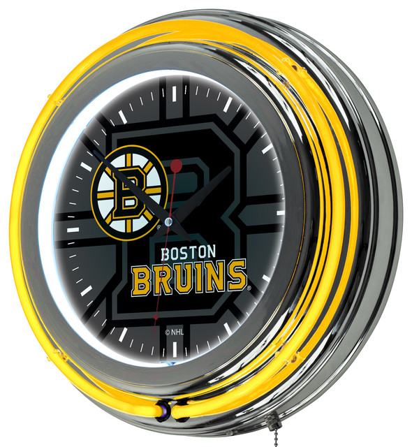 NHL Chrome Double Rung Neon Clock Watermark Boston Bruins