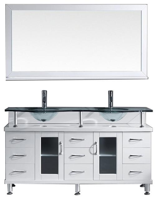 """Virtu Vincente Rocco 59"""" Double Bathroom Vanity, White, Faucet, Mirror."""