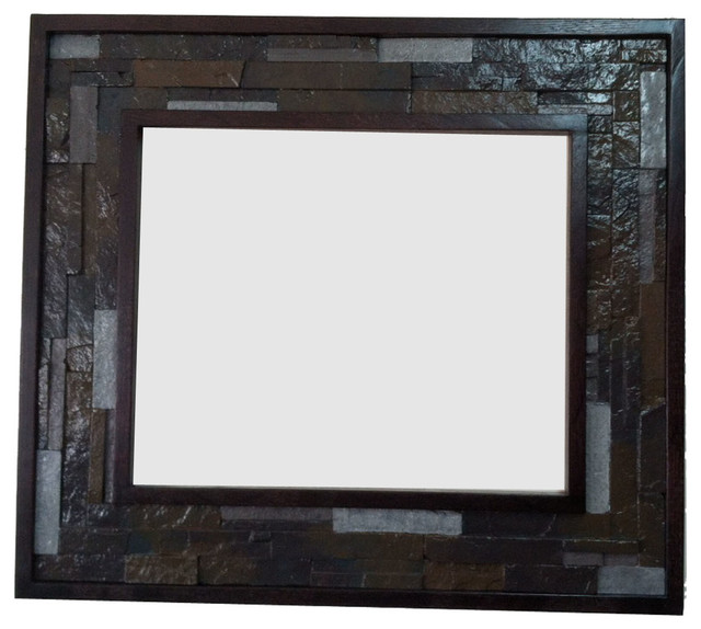 Decorative oak wood frame with faux stone detail - Contemporary ...