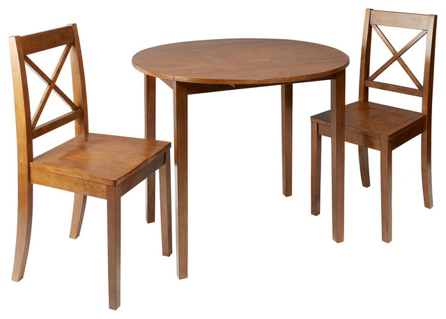 Murphy 3 Piece Drop Leaf Dining Set With X Back Chairs