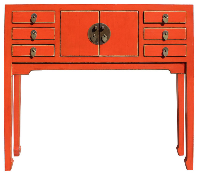 Foyer Table Distressed : Chinese distressed orange red narrow slim foyer side table
