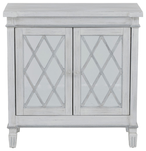 Muntin Mirrored 2-Door Accent Chest, White