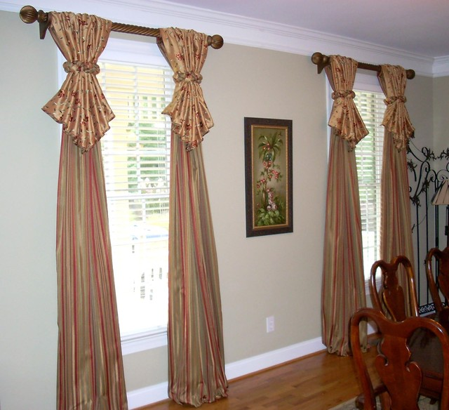 Window treatments traditional dining room atlanta Dining room window curtains