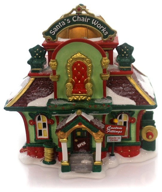 Department 56 House Santa&x27;s Chair Works Porcelain North Pole Series 4050967.