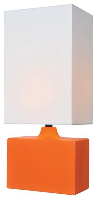 Ceramic Table Lamp, Orange White Fabric Shade, Type Cfl 13w.