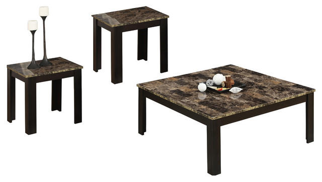 Table Set 3 Piece Set Black Gray Marble Look Top