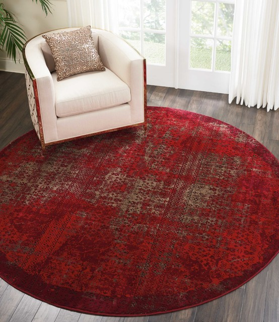 Nourison Karma Area Rug, Red, 7&x27;10 Round.