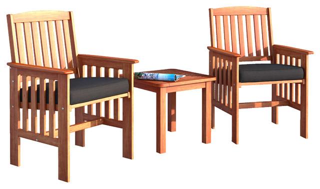 Corliving Miramar 3 Piece Cinnamon Brown Hardwood Chair