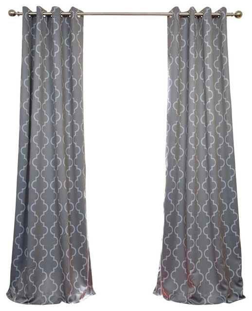 "Seville Gray & Silver Grommet Blackout Curtain, Set Of 2, 50""x108""."