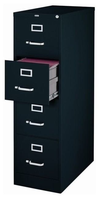 Hirsh 4-Drawer File Cabinet, Black - Contemporary - Filing Cabinets - by Homesquare