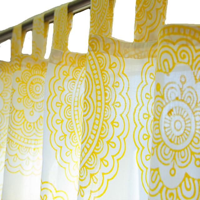 Handmade Mandala Sunshine Yellow Sheer Curtain Panel 383136970107
