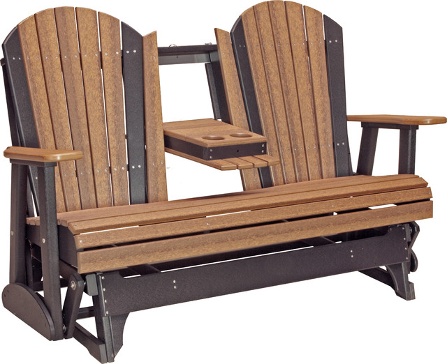 Outdoor Poly 5 Adirondack Glider Bench Transitional