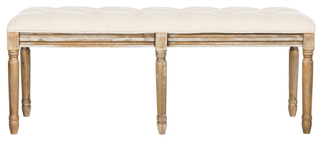 Rocha French Brasserie Tufted Traditional Rustic Wood Bench, Beige. -1