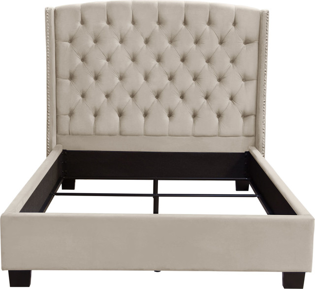 Majestic Queen Tufted Bed In Tan Velvet With Nail Head Wing Accents, Light Tan.