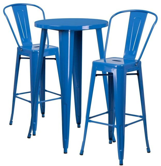 Round Metal IndoorOutdoor Bar Table Set With  Cafe - Bar stools and table set