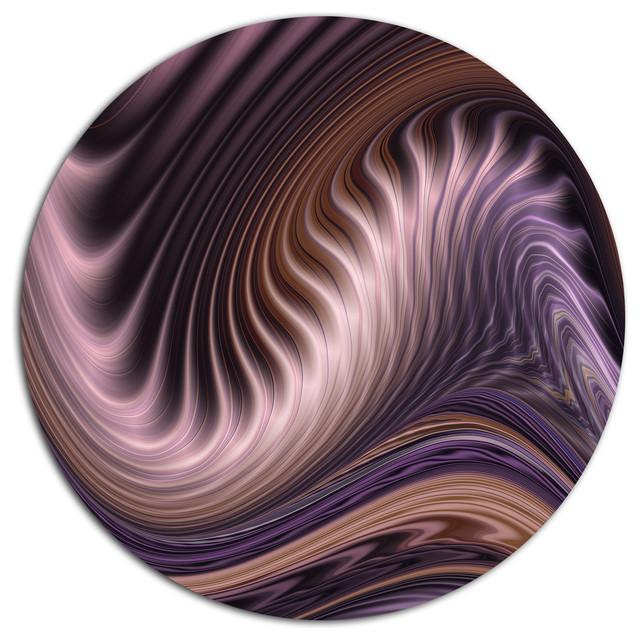 "Purple Waves Fractal Wall Art, Abstract Disc Metal Wall Art, 23"". -1"