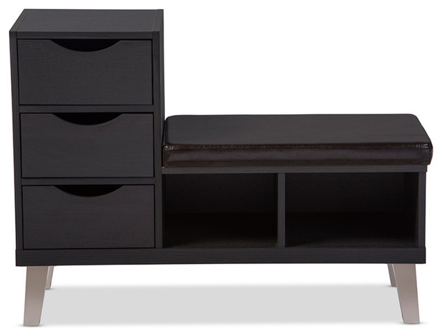 Dark Brown Wood 3 Drawer Shoe Storage Padded Leatherette Seating Bench  Contemporary Shoe
