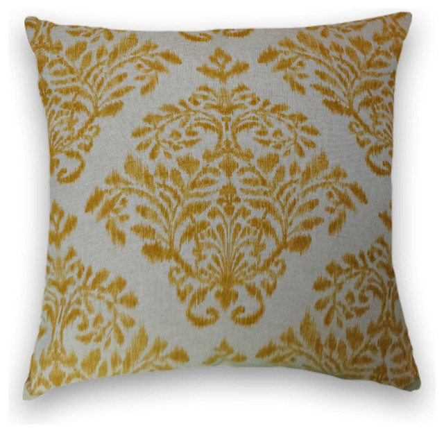 Cody and Cooper Designs - Yellow Gold Ikat Floral Throw - View in Your Room! Houzz