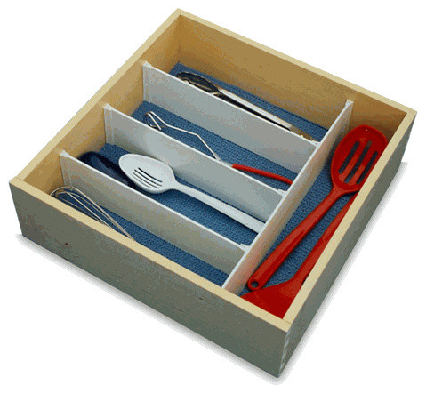 "Shop Houzz | Lifestyle Systems Custom Drawer Dividers - 3"" Tall in White - Kitchen Drawer Organizers"