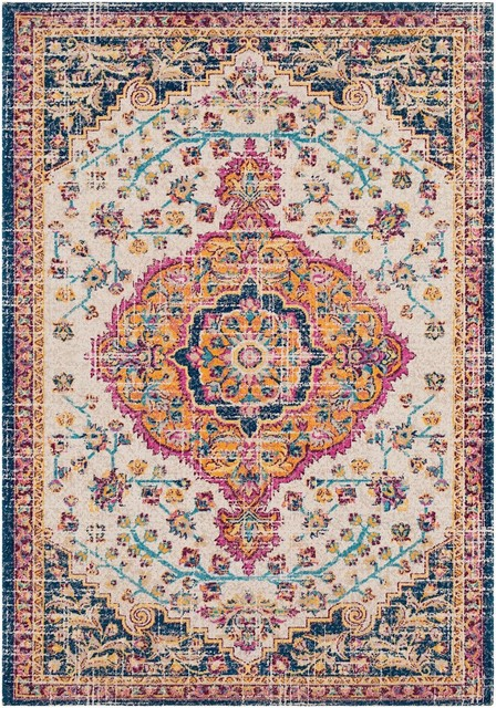 "FaveDecor Traditional Uyreezhaka Blue, Yellow Area Rug, 5'2""x7'6"""