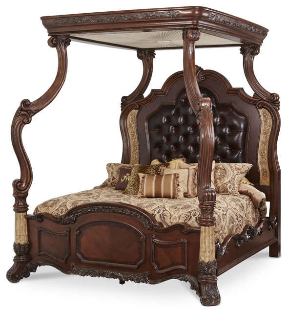AICO Furniture, Victoria Palace Canopy Bed, 4-Pieces - Victorian ...