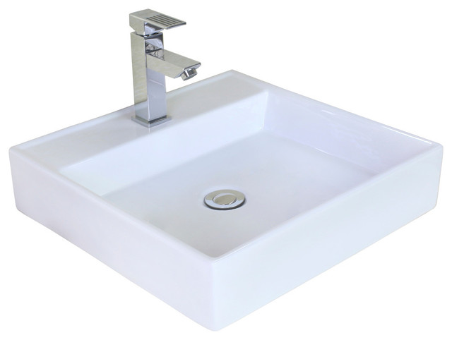Above Counter Rectangle Vessel For Single Hole Faucet, 17, White.