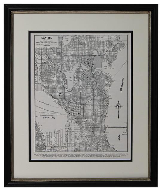 Original Vintage Seattle Washington Framed Map 1949