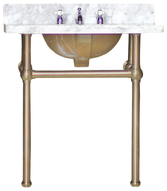 Art Deco Vanity Brass Legs White Carrara Marble 1920 S Inspired Bath Console Traditional Bathroom Sinks By Watermarkfixtures Llc