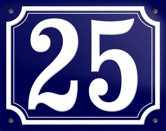 """Number """"25"""" Enamelled Wall Plaque, Blue, Double Border"""